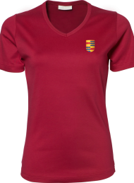 dames shirt 585_alumni logo_deep red_nyenrode